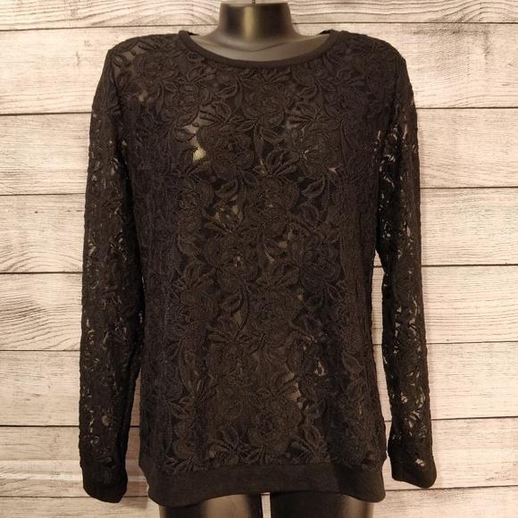 Cato Sweaters - Black Lace Pullover XL